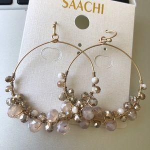 Saachi - Refreshing Glass Bead Hoop Earrings Beige